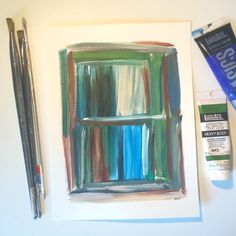"""Window"" Here's to hoping we can start opening the windows more as the weather starts warming up.  #art #paintings #abstract #rectangular #geometric #blues  #greens"