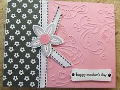 Mothers Day Cards Handmade | Handmade Mother's Day Card Embossed Stampin Up Flowers | eBay