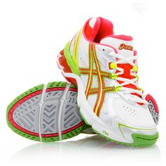 Asics Gel Netburner Professional 8 - Womens Netball Shoes - White/Neon Red/Neon Yellow Love these! Sporty Outfits, Sporty Clothes, Asics Running Shoes, Me Too Shoes, Trainers, Athletic Shoes, High Heels, Footwear, Slippers