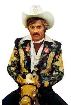 Robert Redford wearing custom Nudie's Rodeo Tailors made by Manuel in the Electric Horseman. #RealMenWearRhinestones