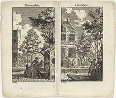 Monogrammist GDP | Oktober en november, Monogrammist GDP, 1700 - 1799 | November: Marktkraam langs een gracht. Oktober: Figuren bij een gracht.