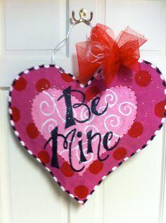 Valentine's Day Heart Burlap Door Hanger