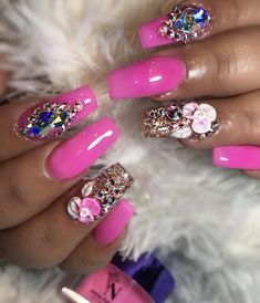 Want some ideas for wedding nail polish designs? This article is a collection of our favorite nail polish designs for your special day. Dope Nails, Bling Nails, Glitter Nails, My Nails, Glam Nails, Pink Glitter, Purple Nail Polish, Nail Polish Colors, Nail Polish Designs