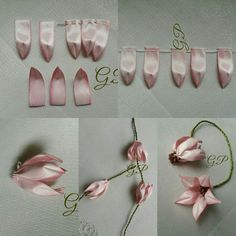 Ribbon Embroidery Flowers by Hand Ribbon Art, Diy Ribbon, Ribbon Crafts, Flower Crafts, Fabric Crafts, Satin Ribbon Roses, Ribbon Flower Tutorial, Ribbon Embroidery Tutorial, Silk Ribbon Embroidery
