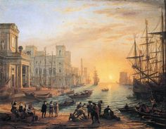 Seaport at Sunset,   Claude Lorrain. 1639
