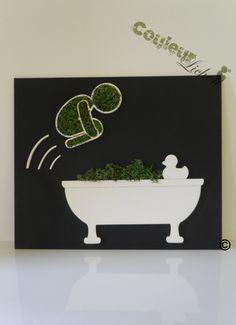 """Décoration en lichen pour la salle de bain, tableau végétal """"le plongeur"""". : Décoration murale Decoration, Planter Pots, Creations, Etsy, Vintage, Bathroom, Wall Art, Handmade Gifts, Bath"""