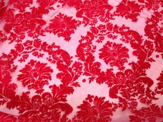 RED velvet flock Damask organza net voile by TheFabricShopUK Cute Curtains, Voile Curtains, Fabric Blinds, Grey Curtains, Curtain Fabric, Bedroom Curtains, Curtain Patterns, Textile Patterns, Textiles