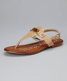 Take a look at this Beige Embellished Sandal by Henry Ferrera on #zulily today!