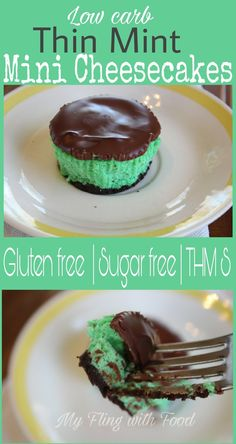 Thin Mint Mini Cheesecakes (THM S) | My Fling with Food