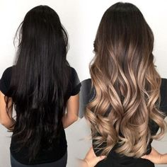 Brunette to lighten Carmel color with highlights