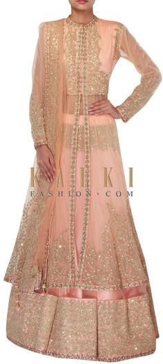 Buy Online from the link below. We ship worldwide (Free Shipping over US$100) http://www.kalkifashion.com/peach-long-jacket-lehenga-adorn-in-sequin-and-thread-embroidery-only-on-kalki.html