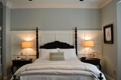 Panelled Wall or Headboard idea - There's a link to the tutorial.