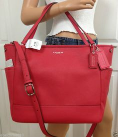 COACH PINK RED BABY DIAPER SAFFIANO LEATHER TOTE LAPTOP CROSSBODY BAG PURSE #Coach #TotesShoppers