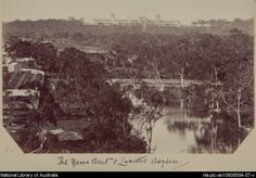 Yarra Bend, with the former Yarra Bend asylum on the left, and the new Kew asylum on the hill in the background, ca. 1880