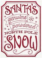 Craft some holiday charm with this Genuine Powdered North Pole Snow apothecary-style label design. Stitch onto Christmas tea towels, throw pillows, and more jolly decor. Christmas Letter From Santa, Christmas Labels, Christmas Crafts For Gifts, Christmas Tea, Christmas Signs, Xmas, Christmas Decor, Machine Embroidery Quilts, Types Of Embroidery
