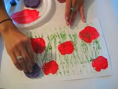 ▶ Poppy Field Printing: A Toddler/Preschool Art Lesson. If you're a teacher in California, this could be a lesson to teach kids the state flower (the poppy). Preschool Art Lessons, Art Lessons For Kids, Artists For Kids, Kindergarten Art, Art Lessons Elementary, Art Activities, Art For Kids, Remembrance Day Activities, Remembrance Day Art