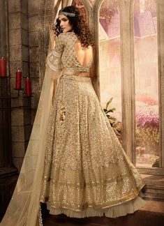 Golden Beige Zari Embroidered Lehenga Choli Set will make you look more beautiful on this festive season with indian ethnic essence. This set comprises of traditional zari and resham-kari embroider. Lehenga Choli Latest, Net Lehenga, Bridal Lehenga Choli, Pakistani Bridal Dresses, Indian Dresses, Wedding Dresses, Indian Clothes, Bridal Lehenga Collection, Indian Party Wear