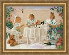 """""""Tea in the Rose Garden"""" is a print on Fine Art America. Click the image to see it, then choose your own mat, frame, and print size. This VN7 wood frame has an Champagne finish, is three inches wide (in the """"Gold"""" drop-down menu). Print size as shown is 22 x 30 inches. Sisters and a cat in a rose garden is Romantic Realism pastel art © Nancy Lee Moran ☺ The white """"Fine Art America"""" logo does NOT appear on items that you purchase. #sisters #girls #cat #teddybear #FineArtAmerica #NancyLeeMoran"""