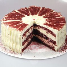 Red Velvet Cake: light chocolate cake,cream cheese icing,white chocolate icing on the side JAMMIE!!