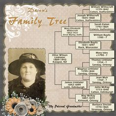 Dawn's Family Tree...a simple to read genealogical page. The photo's flower embellishments balance the layout design.