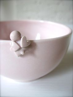 Pink Happy Heart clover Angel Bowl di Hideminy su Etsy