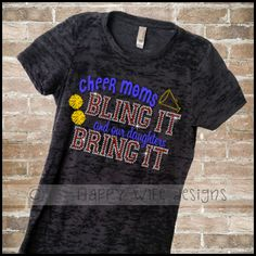 """Ladies Burnout Shirt with Rhinestone and Glitter Cheer Mom Design.    """"Cheer Moms Bling It and our daughters Bling It"""""""