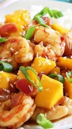 Thai Night!! Sweet and Spicy Mango Shrimp Dinner