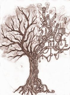 Steampunk Tattoo Designs | steampunk tree by silverleopard designs interfaces tattoo design 2011 ...