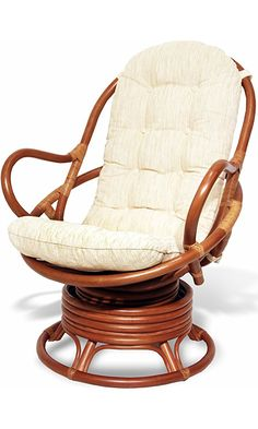 Java Swivel Rocking Chair Colonial with Cushion Handmade Natural Wicker Rattan Furniture Best Price