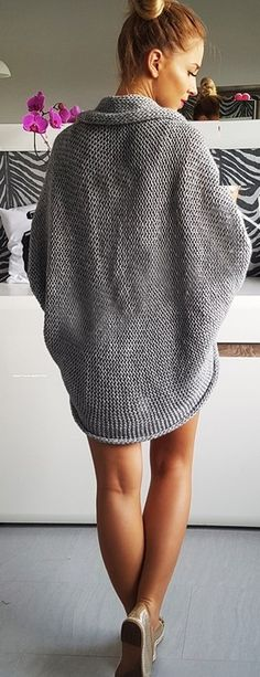 Knit Open Front Batwing Sleeve Sweater Cardigan