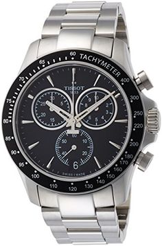 Tissot V8 T1064171105100 BlackSilver Stainless Steel Analog Quartz Mens Watch *** Click image to review more details.