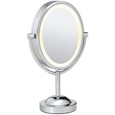 Conair Oval Double-Sided Lighted Vanity Mirror, White ($52) ❤ liked on Polyvore featuring home, bed & bath, bath, bath accessories, white, round vanity mirror, white bathroom accessories, oval lighted makeup mirror, lighted vanity mirror and lighted cosmetic mirror