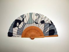 Painted Fan, Hand Painted, Watercolor Bookmarks, Hand Fans, X 23, Leather Case, One Pic, Grey And White, Art Pieces