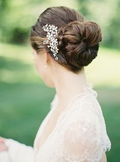 Simple Bun with gorgeous accessory | Timeless and Elegant Wedding by Clary Photo