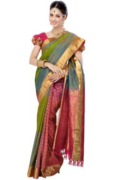 d336b35f98321b Green with Dark Pink Colour Bairavi Silk Saree BTSS9043 Traditional Silk  Saree