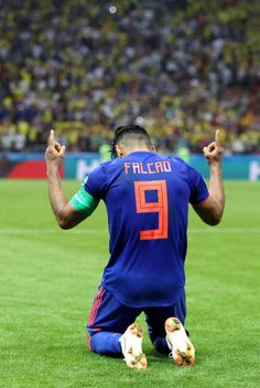 Radamel Falcao of Colombia celebrates after scoring his team's second goal during the 2018 FIFA World Cup Russia group H match between Poland and. World Football, Football Pictures, Badass Quotes, Fifa World Cup, Real Madrid, Scores, Superstar, Russia, Celebrities