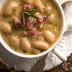 Tuscan White Bean Soup with Pancetta and Rosemary