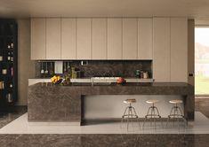 Polished stoneware marble effect: Elements Lux - Keope Ceramic Tiles Minimal Kitchen, Open Kitchen, Kitchen Island, Marble Effect, Bespoke Kitchens, Wall And Floor Tiles, Cuisines Design, Stone Flooring, Tile Design