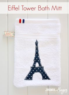 Follow our easy tutorial to turn a plain face washer into a bath mitt, featuring an Eiffel Tower appliqué. Easy sewing project.
