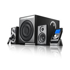 Get the 10 inch subwoofer to shake your floor. This premium set of speakers come with optical digital input and built-in decoders.