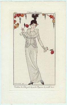 """""""Tailleur de Satin gris de perle. Chapeau de paille Noir"""", Journal des Dames et des Modes, 1912; MFA 63.2524"""