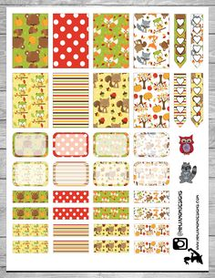 Free Printable Woodland Creatures Planner Stickers at ninjamomdesigns.com