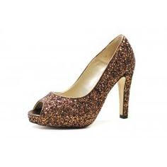 Zapato glitter de tacón de Martina Blue Peep Toe, Blue Party, Party Shoes, Peeps, Fashion, Court Shoes, Shoes Sandals, Bronze, Over Knee Socks