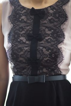 Add lace and bows to a plain shirt or dress