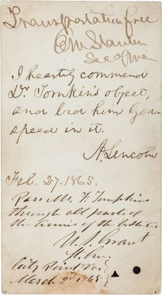 The signatures of U.S. Presidents Abraham Lincoln and Ulysses S. Grant on the same document - a Civil War battlefield pass.