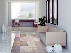 Cameo - Bolshoi Pink 8238. Cameo range from Louis de Poortere. Soft, pastel colours in a patchwork style make ideal large rugs for bedrooms and living rooms. Free UK delivery.