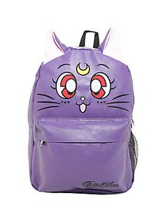 """<div>When Sailor Moon needs magical assistance, Luna is always there to help! This cat-eared purple backpack might scold you for being silly, but deep down you know she's right. Front zipper pouch, main zipper pouch, tech sleeve, two water bottle pockets. Padded back and straps.</div><div><br></div><ul><li style=""""list-style-position: inside !important; list-style-type: disc !important"""">16 1/2"""" 12""""</li><li style=""""list-style-position: inside !important; list-style-type: disc…"""