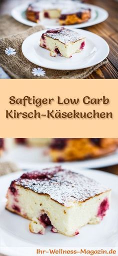 Rezept für einen saftigen Low Carb Kirsch-Käsekuchen - kohlenhydratarm, kalorienreduziert, ohne Zucker und Getreidemehl Low Carb Sweets, Low Carb Desserts, Low Carb Recipes, German Baking, Healthy Baking, Raspberry Cookies, Low Carp, No Carb Diets, Gluten Free Cakes
