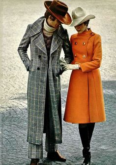 1970s coat romance. The orange coat! I've got one, but this length would be perfect for my longer dresses!