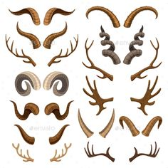 Horn vector horned wild animal and deer or antelope antlers illustration set of . - Horn vector horned wild animal and deer or antelope antlers illustration set of horny hunting troph - Creature Concept Art, Creature Design, Antler Drawing, Deer Drawing, Animal Drawings, Art Drawings, Wall Paper Iphone, Art Reference Poses, Animal Wallpaper